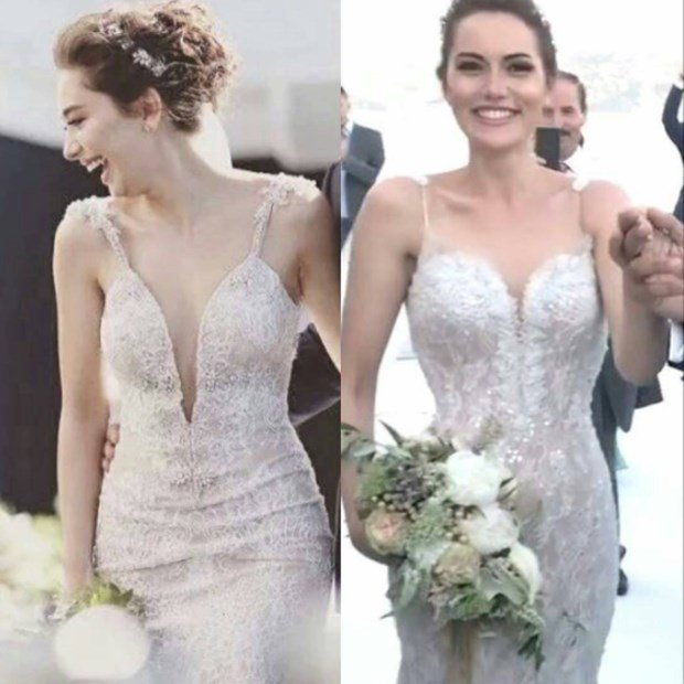 Fahriye Evcen Neslihan Atagul wedding dress similarity
