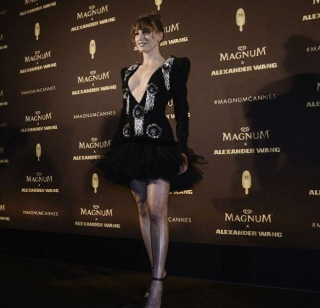 Serenay Sarikaya is wear black dress  at Cannes Film Festival