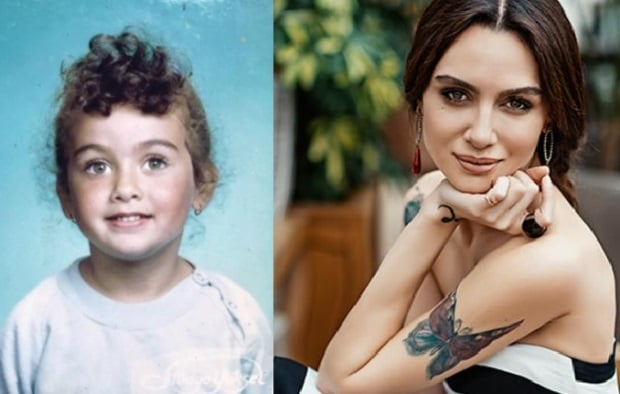 Birce Akalay Childhood Photo and Birce Akalay 2018 Photo